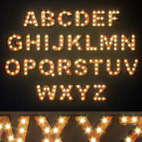 Lighted Metal sign. Set 7. Alphabet
