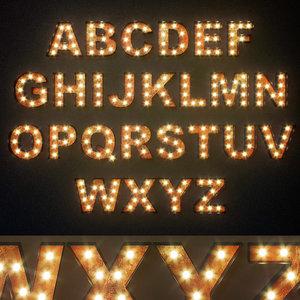 3D lighted metal sign set