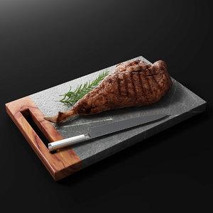 3D model meat steak food