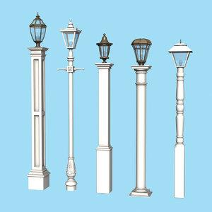 set new england lamp posts 3D model