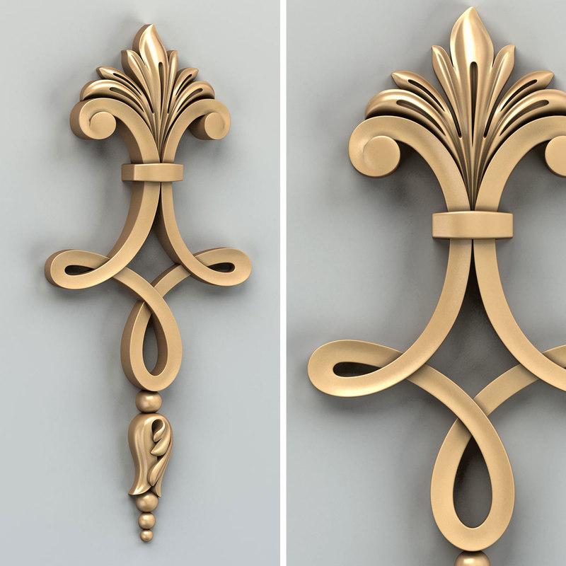 3D carved decor model