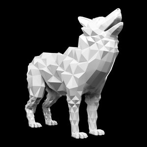 3D model wolf statue