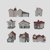 3D polygonal buildings set 8