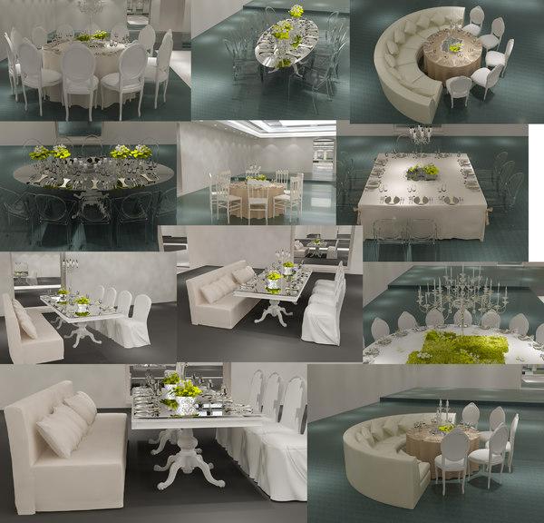 3D table chair wedding hall model