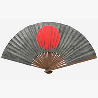 antique japanese war fan 3D
