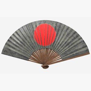 antique japanese war fan 3D