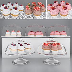berry cupcakes 3D model