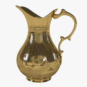 3D golden pitcher