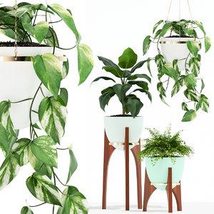 3D plants 134 retro print