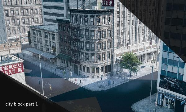 3D city block 1 model