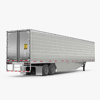 3D large semi trailer refrigerator model