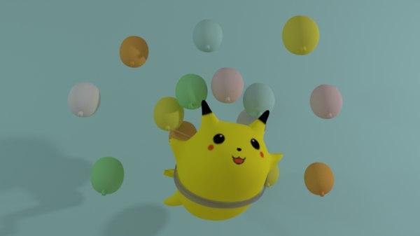 3D flying pikachu