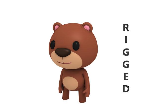 3D rigged cartoon bear character model