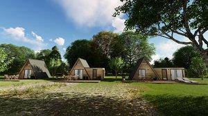 3D modern mountain cabin style house model