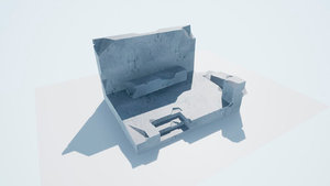 3D model destroyed buildings low-poly pbr