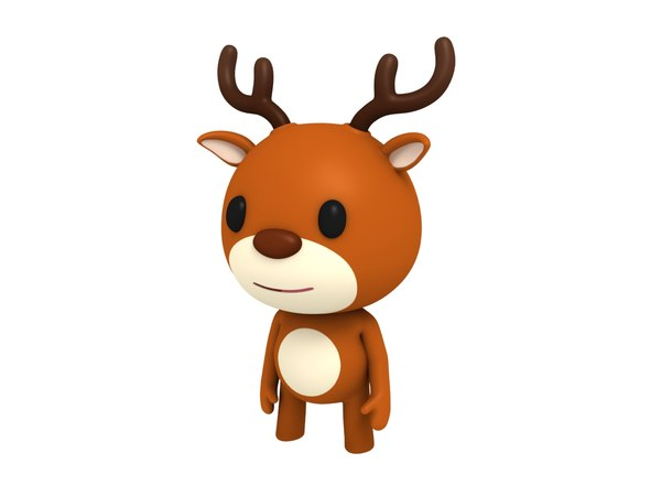rigged cartoon deer model