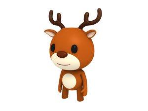 rigged cartoon deer model