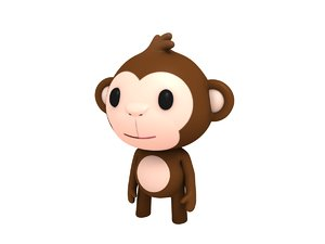 rigged cartoon monkey character 3D model