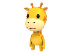 cartoon giraffe character rigged 3D model