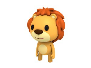 rigged cartoon lion 3D
