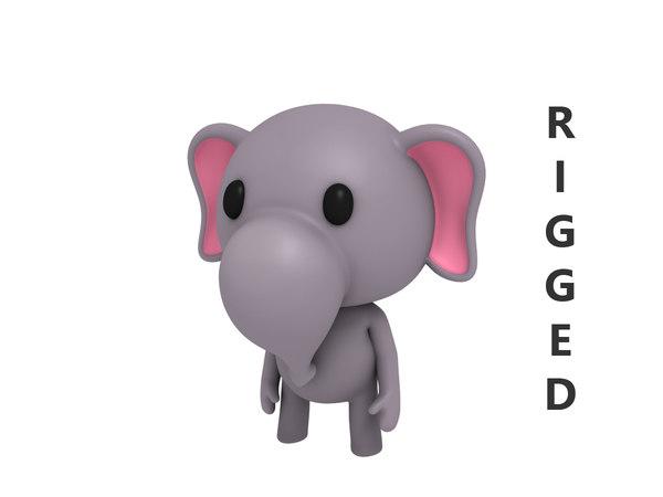 3D model rigged cartoon elephant