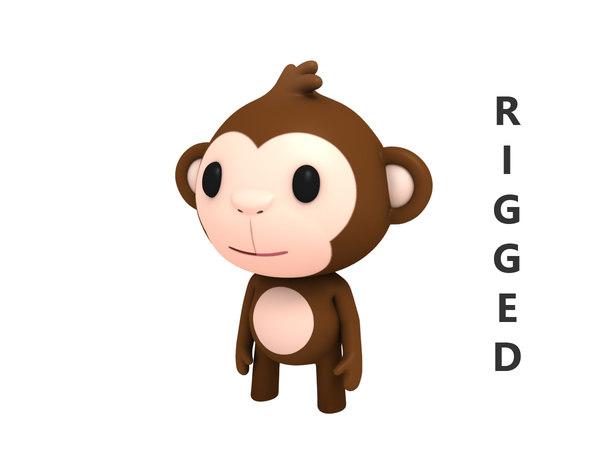 rigged cartoon monkey character 3D model