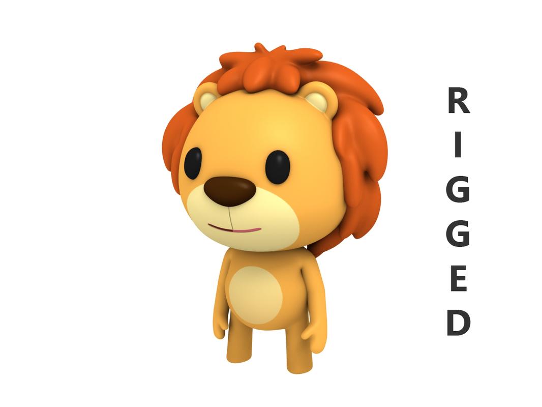 rigged cartoon lion 3D