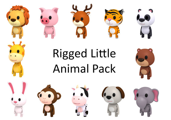 rigged cartoon animal character 3D model