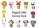 rigged cartoon animal character 3D model