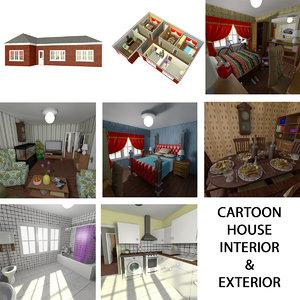 cartoon house exterior interior furniture 3D model