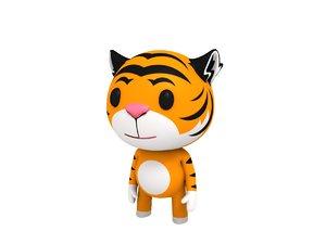 3D rigged cartoon tiger