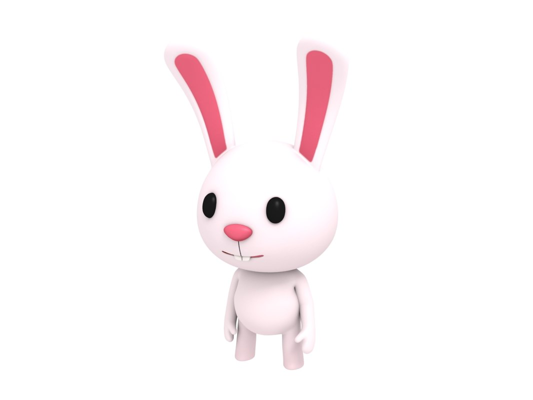 3D rigged cartoon rabbit