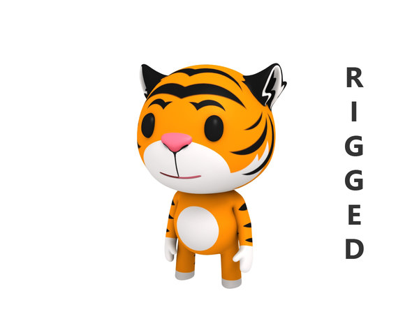 3D rigged cartoon tiger