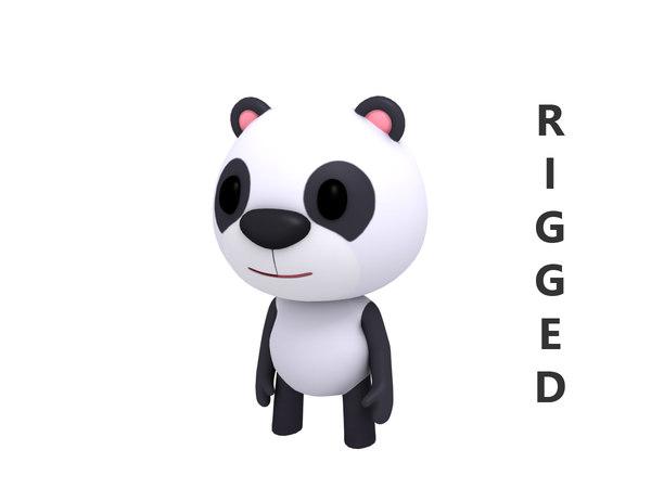3D rigged cartoon panda model