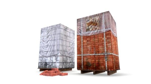 block brick pallet 3D model