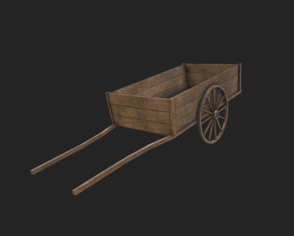 3D model wooden medieval cart wagon