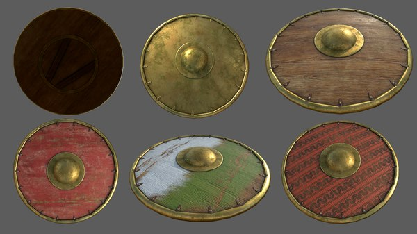 3D shield pack pbr model