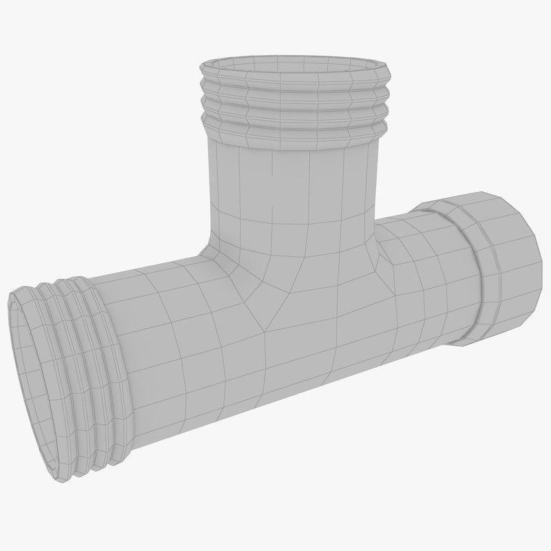 pipe t cross 3D model