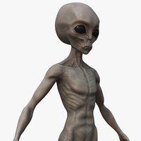 3D model grey alien pbr