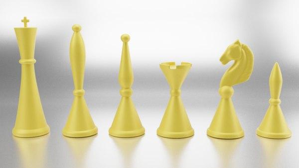 art deco style chess set model
