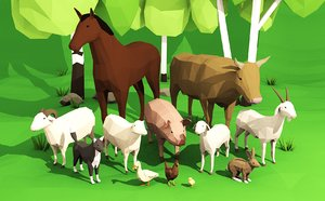 domestication animals rigged pack 3D model