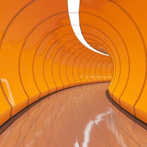 3D corridor scene tunnel