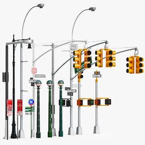 traffic light pillar 3D model