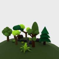 3D model cartoon set plants stones