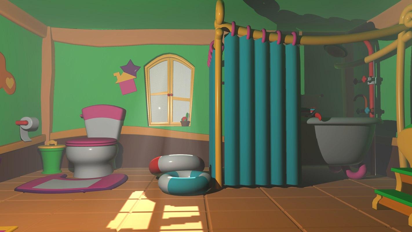 Bathroom cartoon - asset 3D model - TurboSquid 1384979