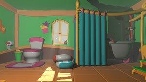 bathroom cartoon - asset 3D model