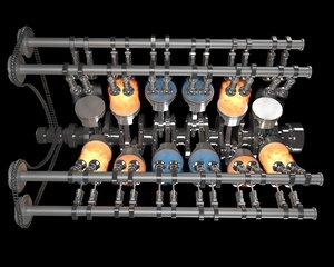 internal v12 engine gasoline 3D model