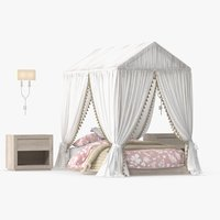 girl s single bed 3D