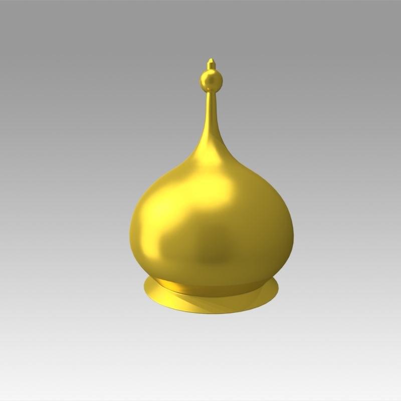 3D church golden dome model