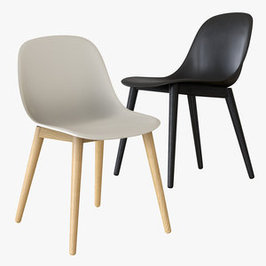 3D muuto fiber chair wood model